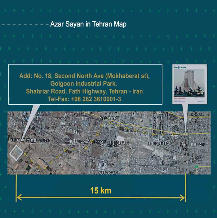 Azar Sayan in Tehran Map