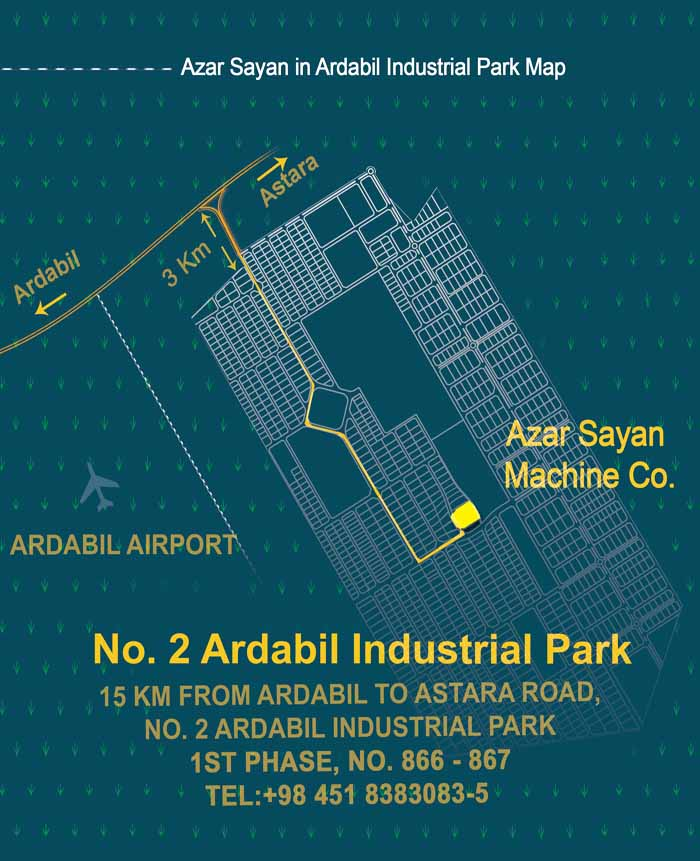 Azar Sayan on the Map of Ardabil Industrial Park